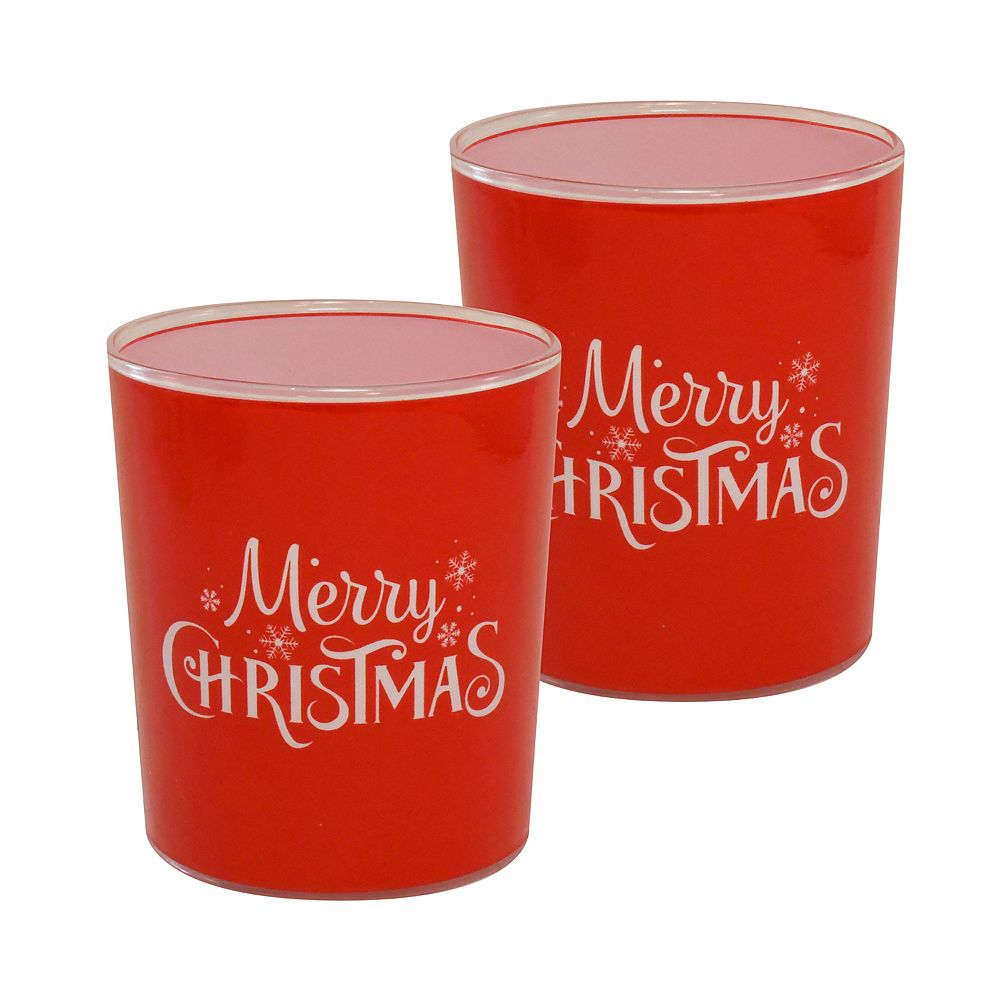 CC Home Furnishings Battery Operated Glass LED Candles - Merry Christmas (set of 2)