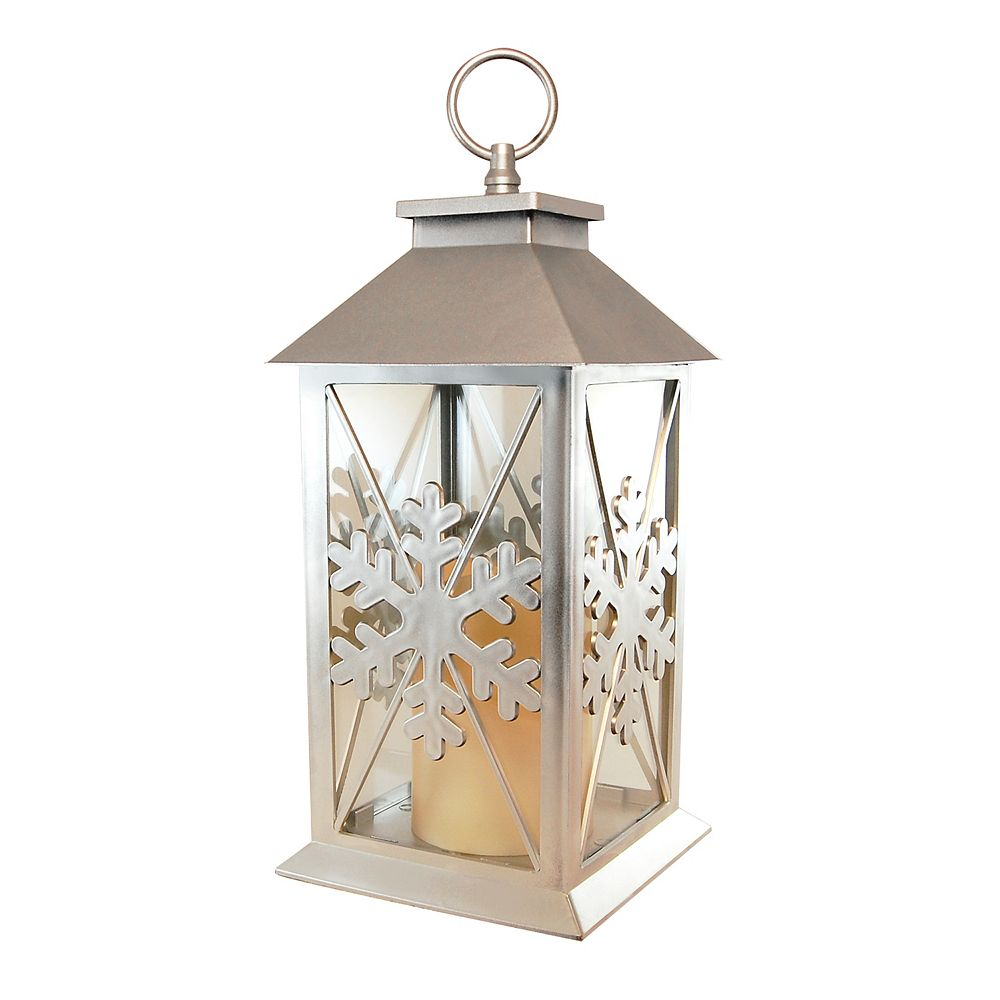 CC Home Furnishings Silver Snowflake Lantern with Battery Operated Candle