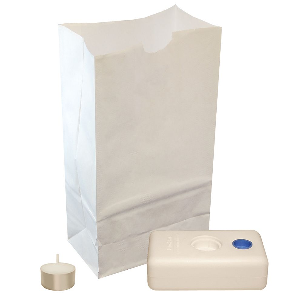 CC Home Furnishings Luminaria Kit-  Luminaria Bags, Extended Burn Tea Lights and LumaBases (set of 100)