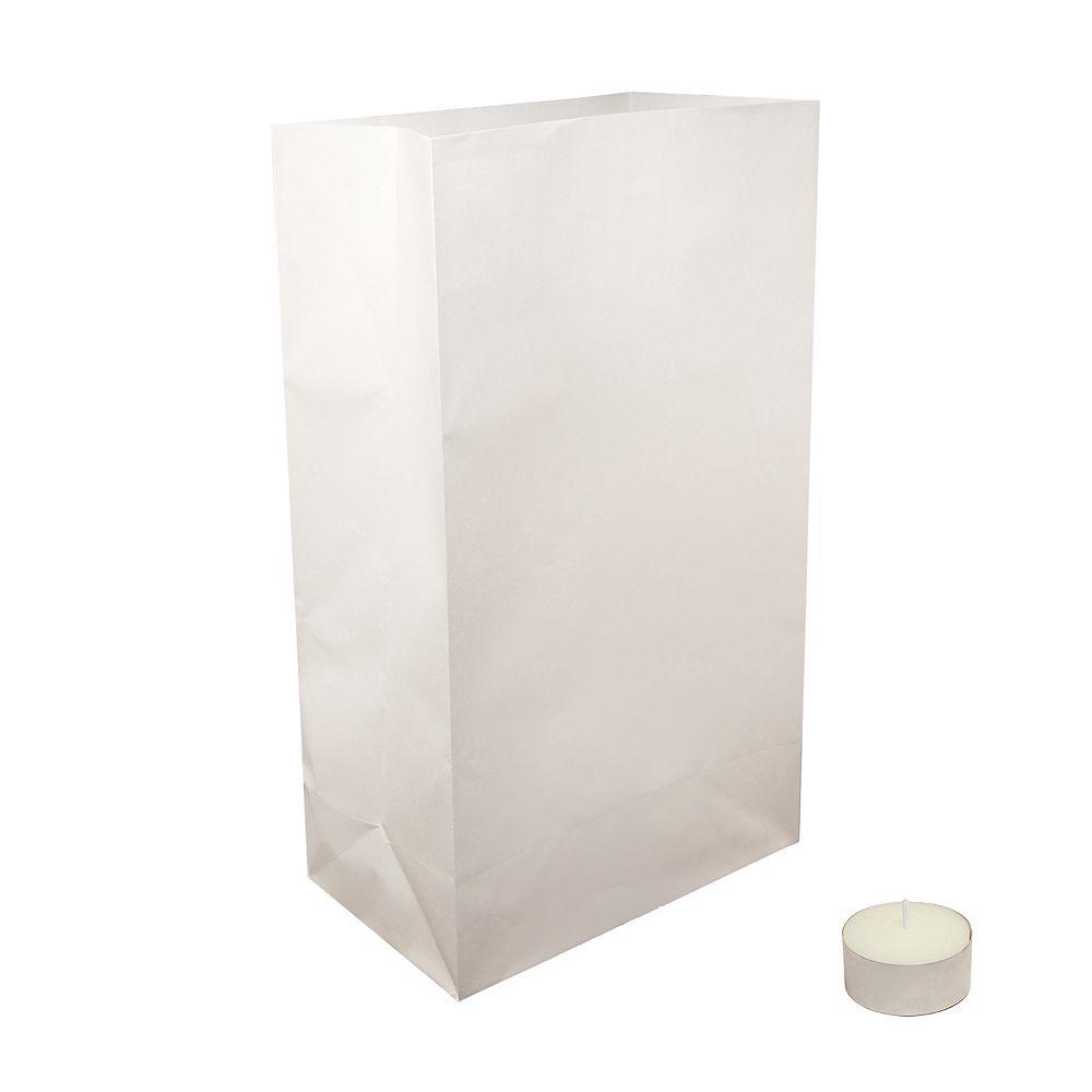 CC Home Furnishings Luminaria Kit- Flame Resistant Luminaria Bags and Extended Burn Tea Lights (set of 100)