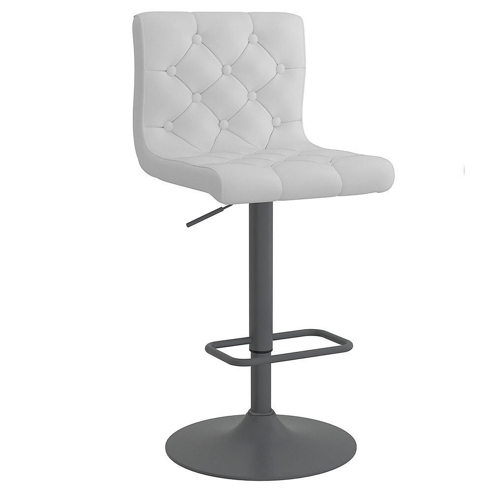 WHI Set of 2 Faux Leather Tufted Adjustable Stool