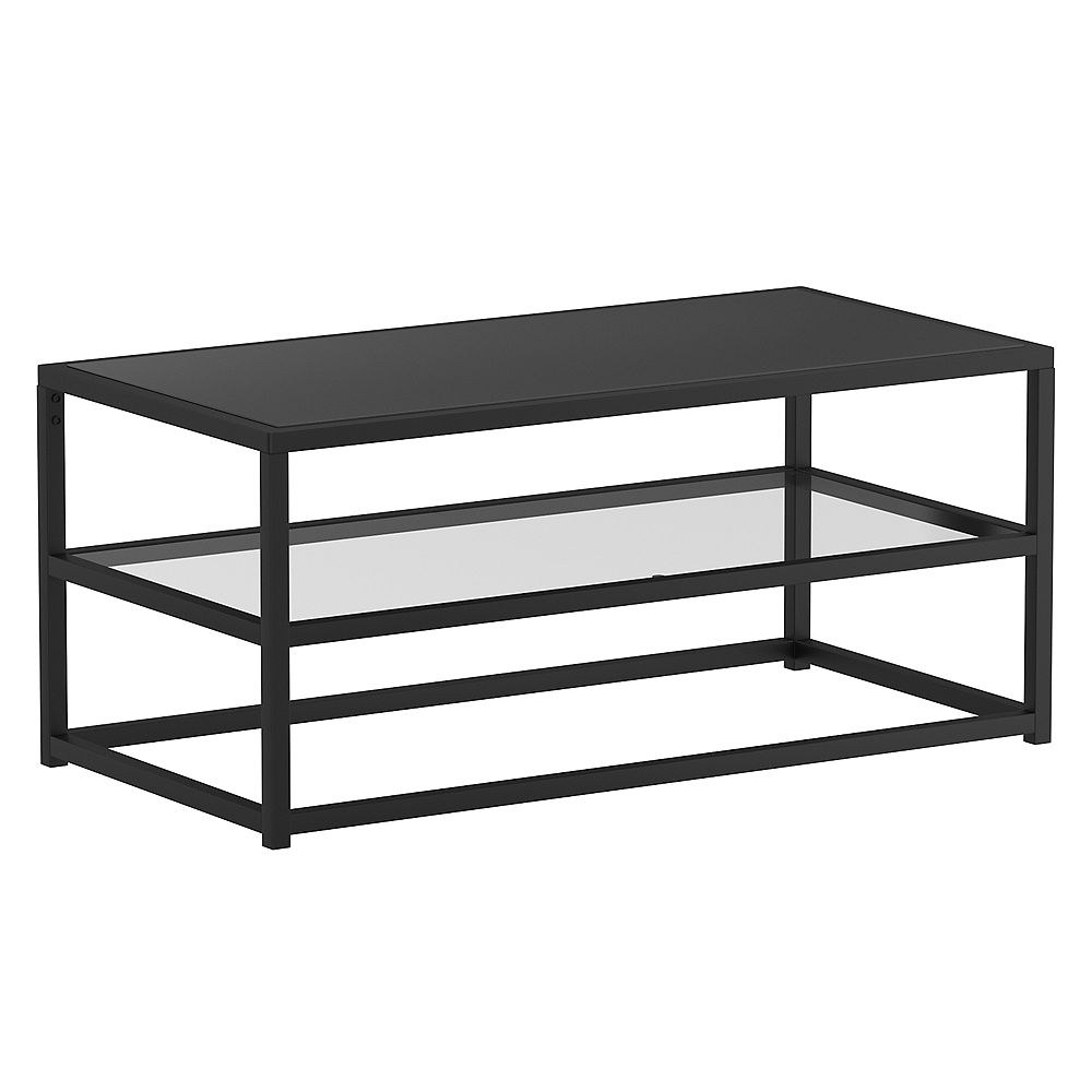 !nspire Contemporary 2 Tier Glass and Metal Coffee Table