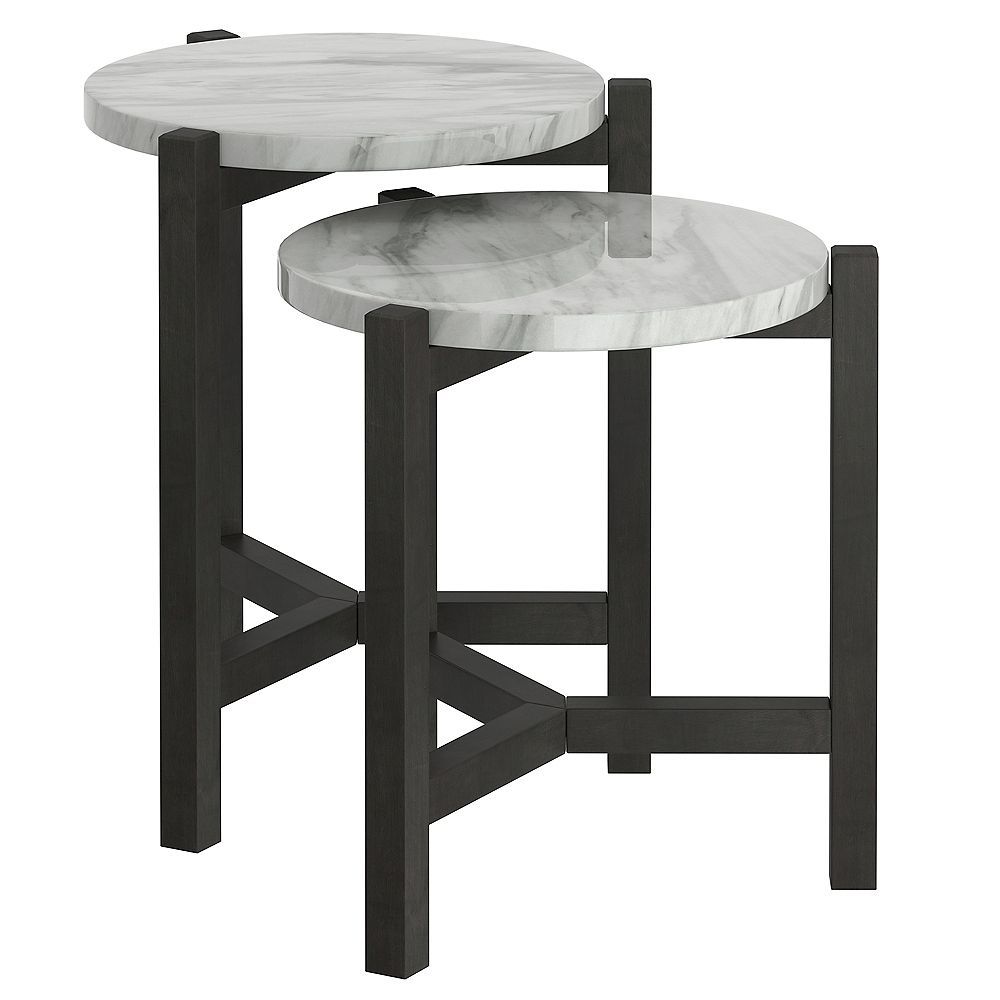!nspire Set of 2 Faux Marble Accent Tables