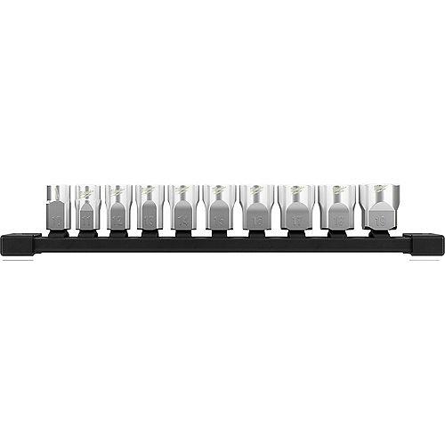 Douilles métriques à profil bas de 3/8 de pouce à 6 points avec QUATRE côtés plats (10 pièces)