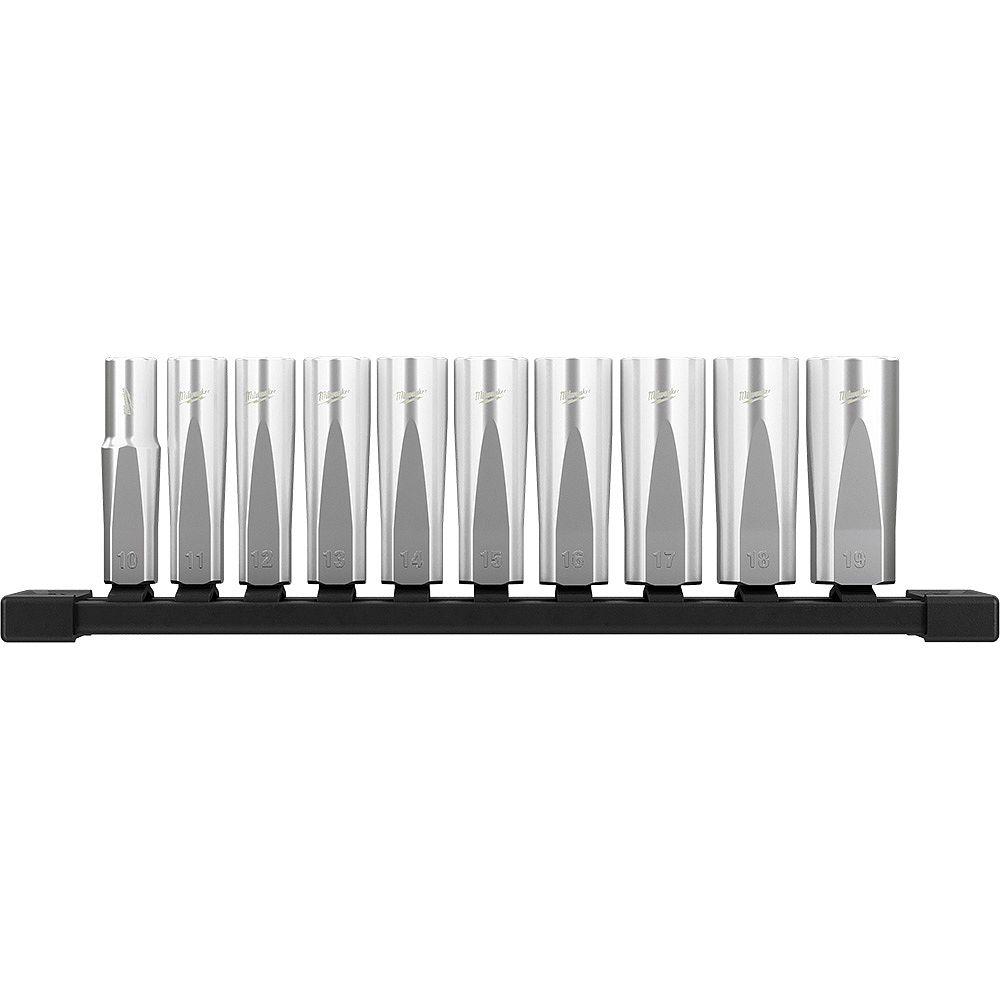 Milwaukee Tool 3/8 -inch Drive Metric Deep Well 6-Point Socket Set (10-Piece)