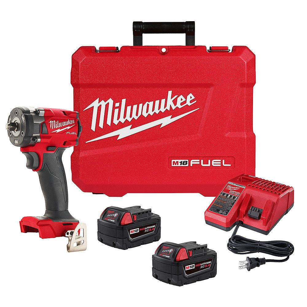 Milwaukee Tool M18 FUEL 18V Brushless Cordless 3/8 -inch Compact Impact Wrench w/ Friction Ring XC 5.0 Kit