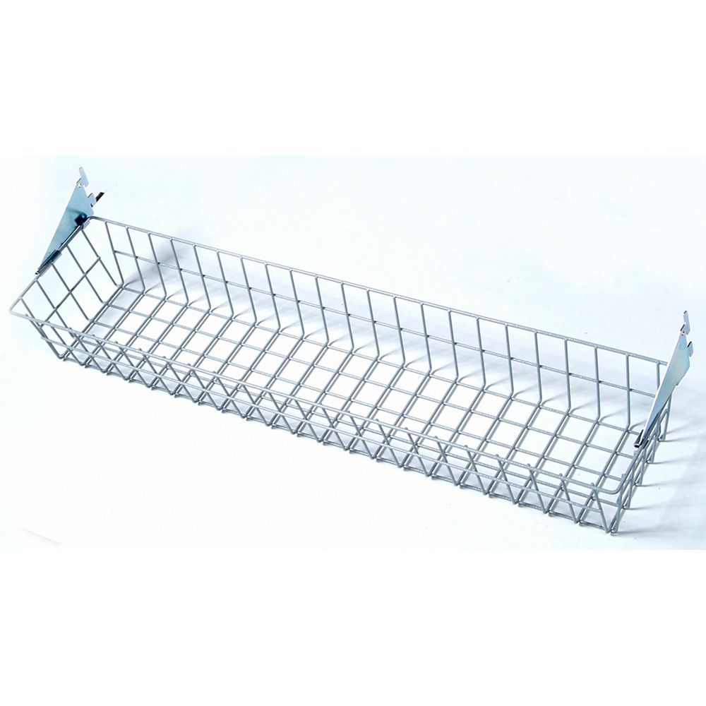Triton 31 inches W x 4 inches H x 6-1/2 inches D Gray Steel Wire Basket with Lock-On Hanging Brackets