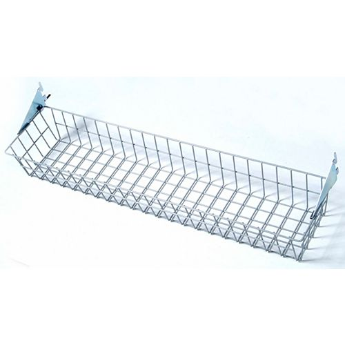 31 inches W x 4 inches H x 6-1/2 inches D Gray Steel Wire Basket with Lock-On Hanging Brackets