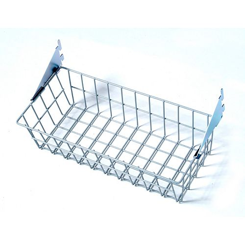 15 inches W x 4 inches H x 6-1/2 inches D Gray Steel Wire Basket with Lock-On Hanging Brackets