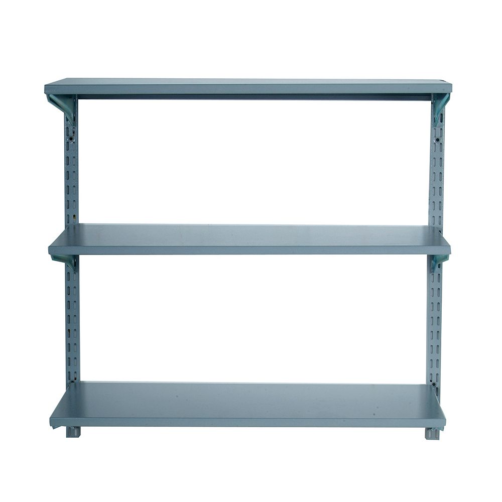 Triton 33 inches L x 31.5 inches H Wall Mount Shelving Unit with 3 Steel Shelves & Mounting Hardware