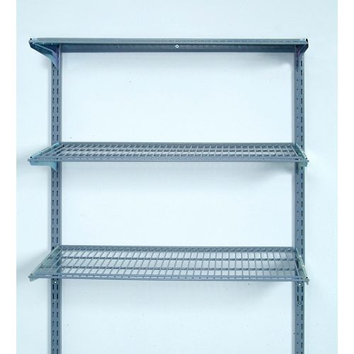33 inches L x 31.5 inches H Wall Mount Shelving Unit with 3 Steel Wire Shelves & Mounting Hardware