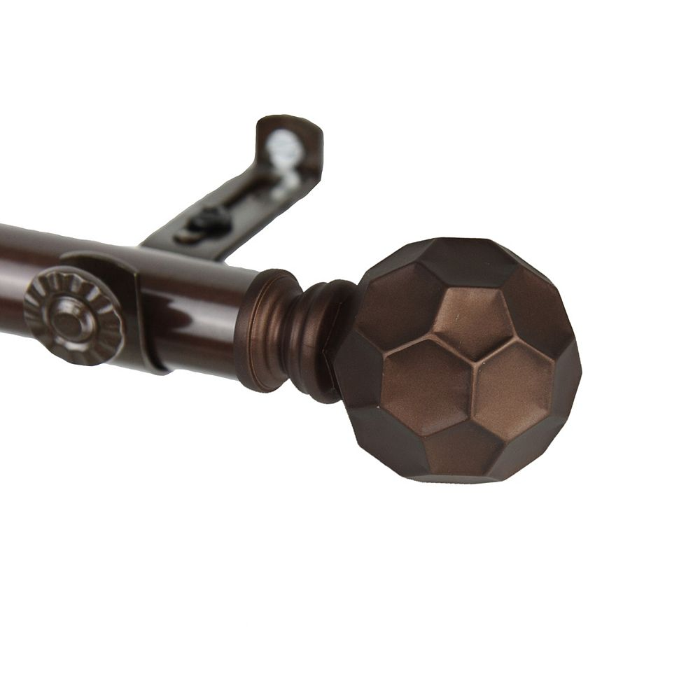 """Rod Desyne 66 in. to 120 in Adjustable 3/4"""" Dia Single Curtain Rod in Cocoa with Christiano Finials"""