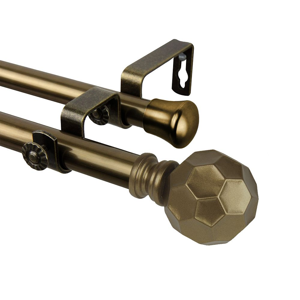 """Rod Desyne 66 in. to 120 in Adjustable 3/4"""" Dia Double Curtain Rod in Antique Brass with Christiano Finials"""