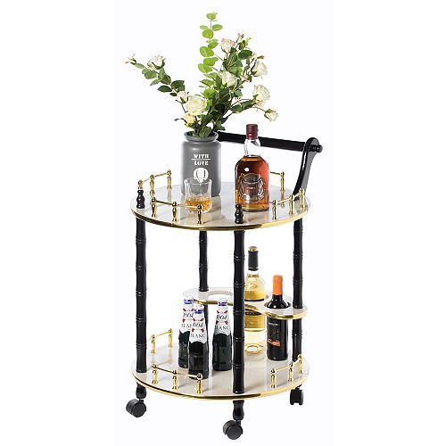 Round Wood Serving Cart Tea Trolley with 2 Tier Shelves and Rolling Wheels, White