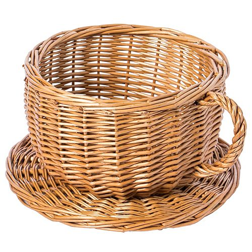 Wicker Saucer Coffee Mug Cup Decorative Gift Basket Desk Organizer