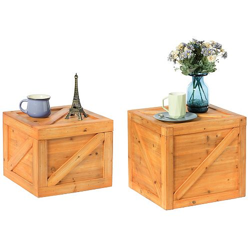 Square Decorative Wooden Chest Trunk Set of 2