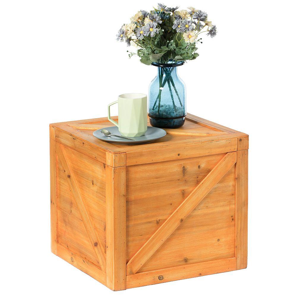 Vintiquewise Square Decorative Wooden Chest Trunk - Large