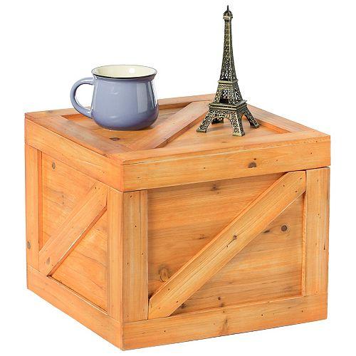 Square Decorative Wooden Chest Trunk - Small