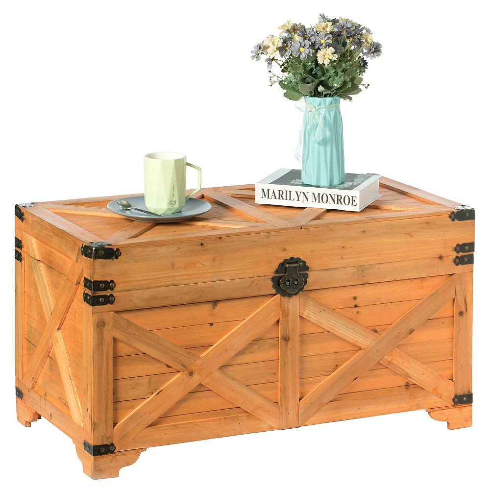 Vintiquewise Barn Design Large Decorative Farmhouse Wooden Storage Trunk Chest