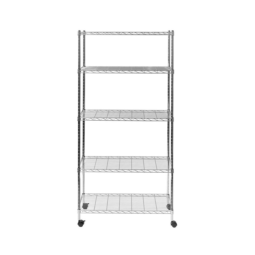 Vancouver 5-TIER STEEL WIRE SHELVING WITH WHEELS, 30
