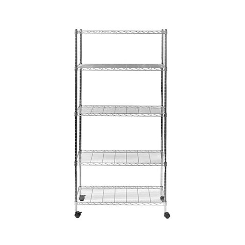 """Vancouver Classics 5-Tier Steel Wire Shelving With Wheels, 30"""" W X 14"""" D X 60"""" H"""