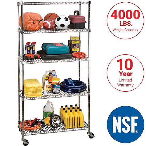 5-Tier Nsf-Certified Steel Wire Shelving With Wheels
