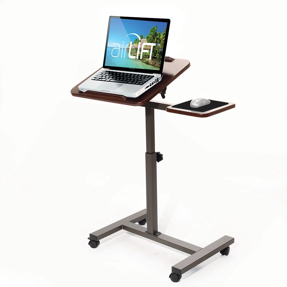 """Vancouver Classics Sit-Stand Computer Desk Cart With Mouse Pad Table, Height-Adjustable From 27.5"""" To 40"""" H, Walnut"""