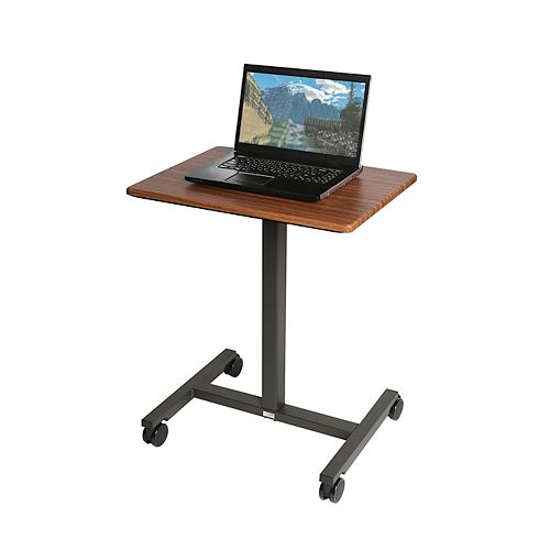 AIRLIFT PNEUMATIC LAPTOP COMPUTER SIT-STAND MOBILE DESK CART HEIGHT-ADJUSTABLE MAPLE