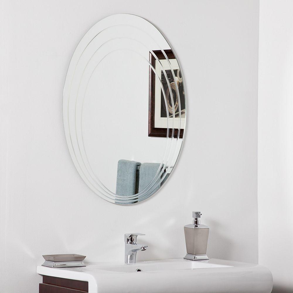Decor Wonderland 32-inch  x 24-inch Oval Hanna Modern Bathroom Mirror with Polished Edge and Dual Mounting Brackets