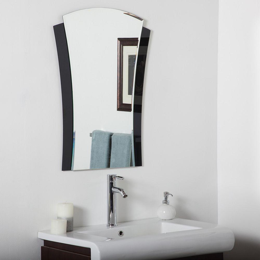 Decor Wonderland 32-inch  x 24-inch Arch Rectangle Deco Bathroom Mirror with Beveled Edge
