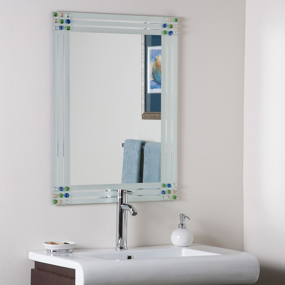 Decor Wonderland 32-inch  x 24-inch Rectangle Bejeweled Frameless Bathroom Mirror and Dual Mounting Brackets