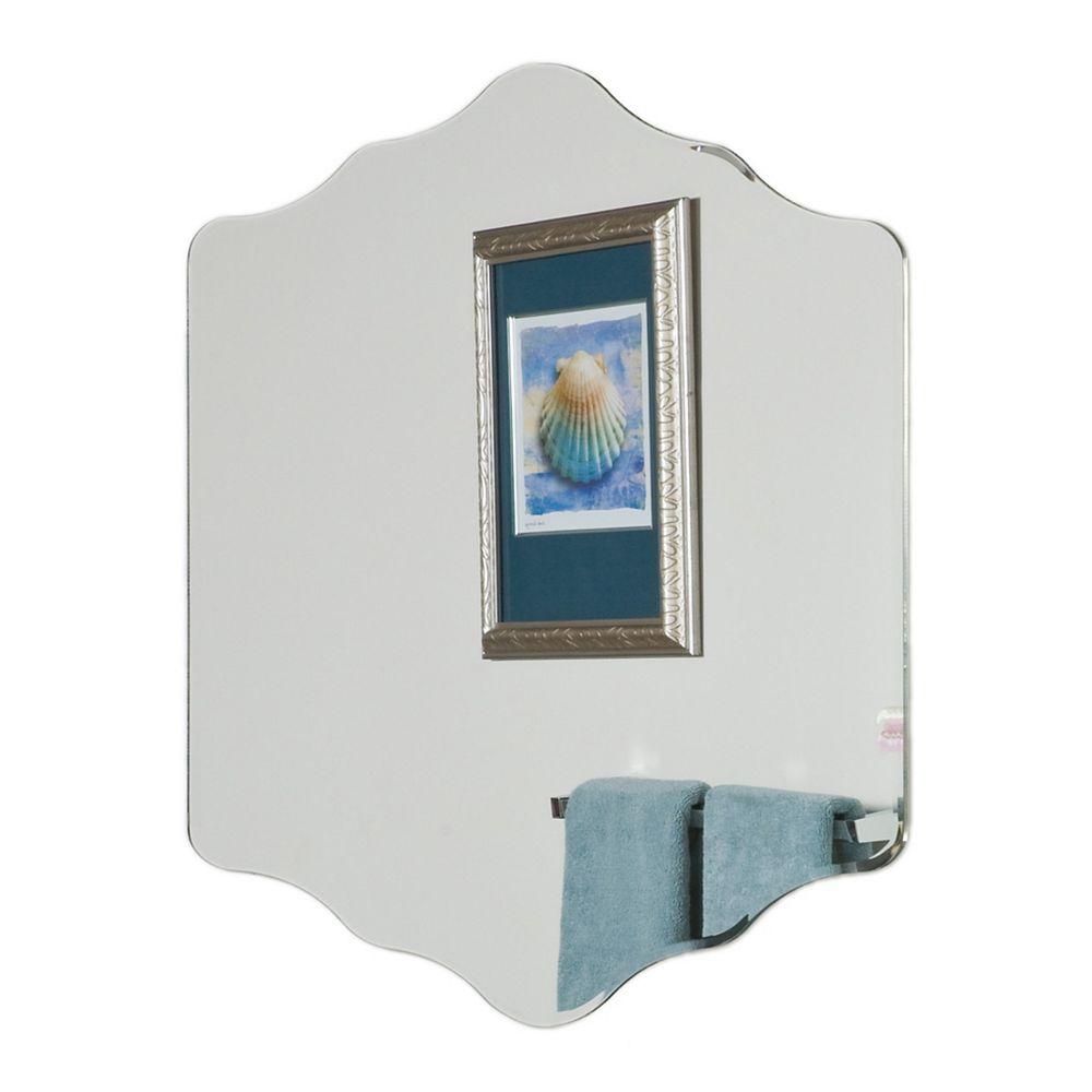 Decor Wonderland 32-inch  x 24-inch Diamond Vandam Frameless Mirror with beveled Edge and Dual Mounting Brackets
