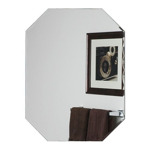 Decor Wonderland 32-inch  x 24-inch Octagon Frameless Scallop Mirror with beveled Edge and Dual Mounting Brackets