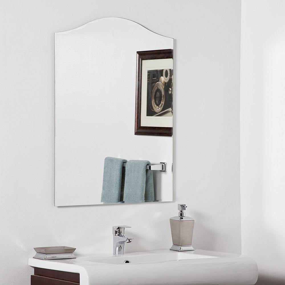 Decor Wonderland 32-inch  x 24-inch Crowned Rectangle Allison Modern Bathroom Mirror with beveled Edge