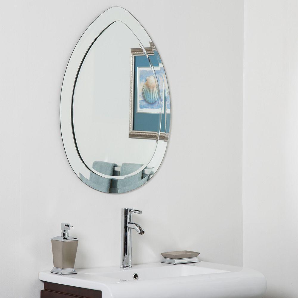 Decor Wonderland 31-inch  x 23-inch Oval Droplet Modern Bathroom Mirror with beveled Edge