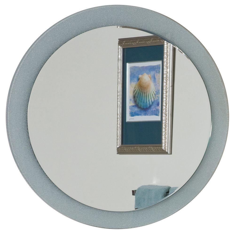 Decor Wonderland 28-inch   Round Zoe Bathroom Mirror with beveled Edge