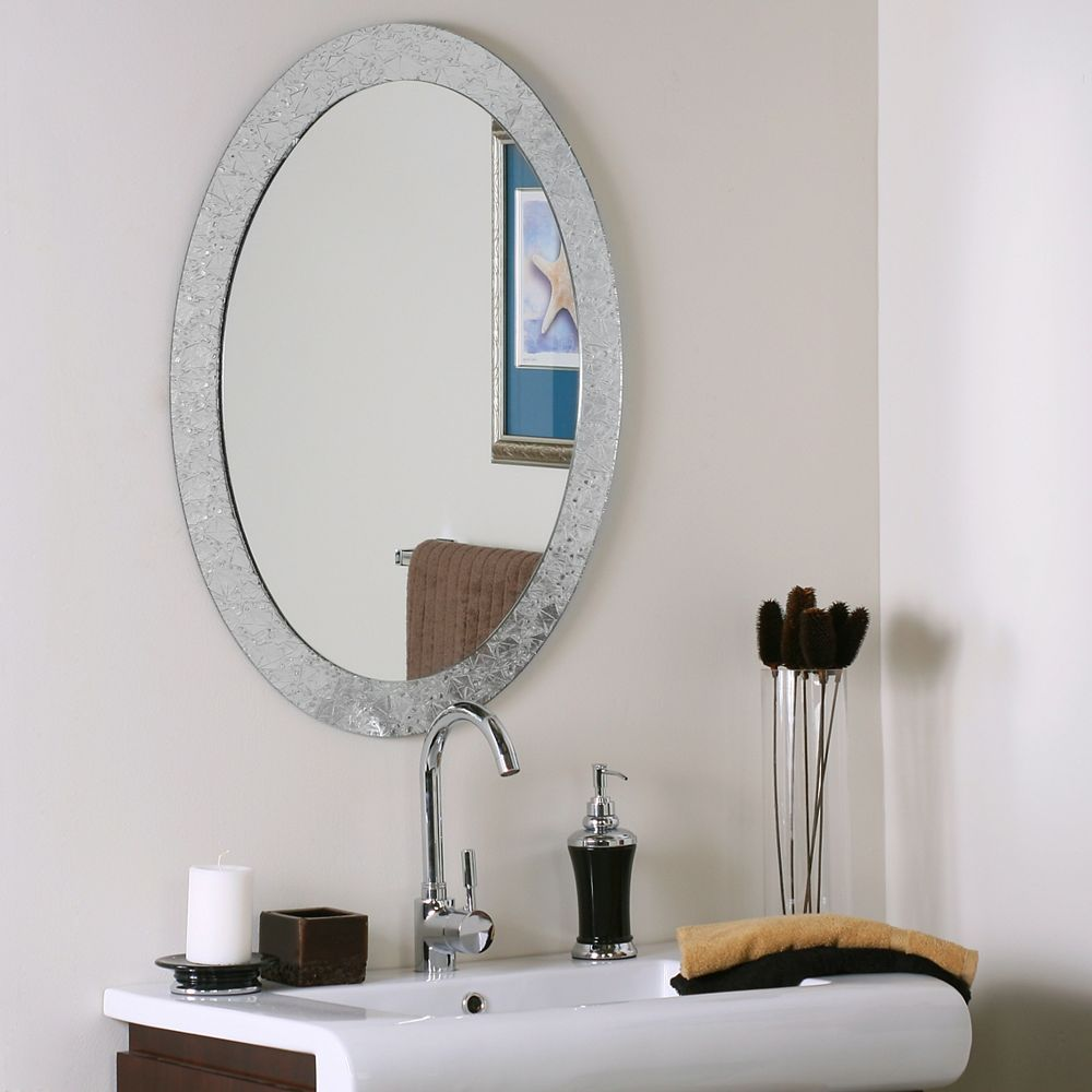 Decor Wonderland 32-inch  x 24-inch Oval Frameless Crystal Wall Mirror with Polished Edge and Dual Mounting Brackets