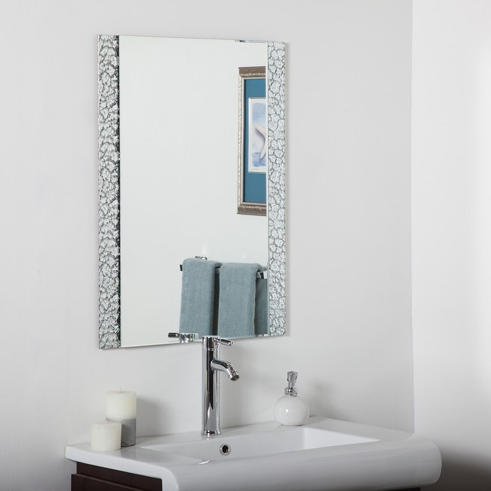 Decor Wonderland 32-inch  x 24-inch Rectangle Ice Rock Vanity Mirror with beveled Edge and Dual Mounting Brackets
