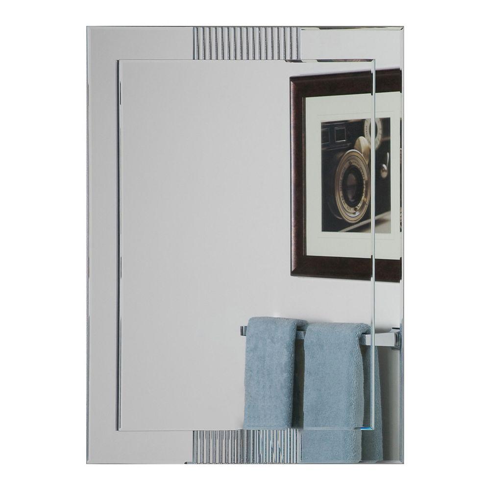 Decor Wonderland 32-inch  x 24-inch Rectangle Francisca Frameless Mirror  beveled Edge and Dual Mounting Brackets