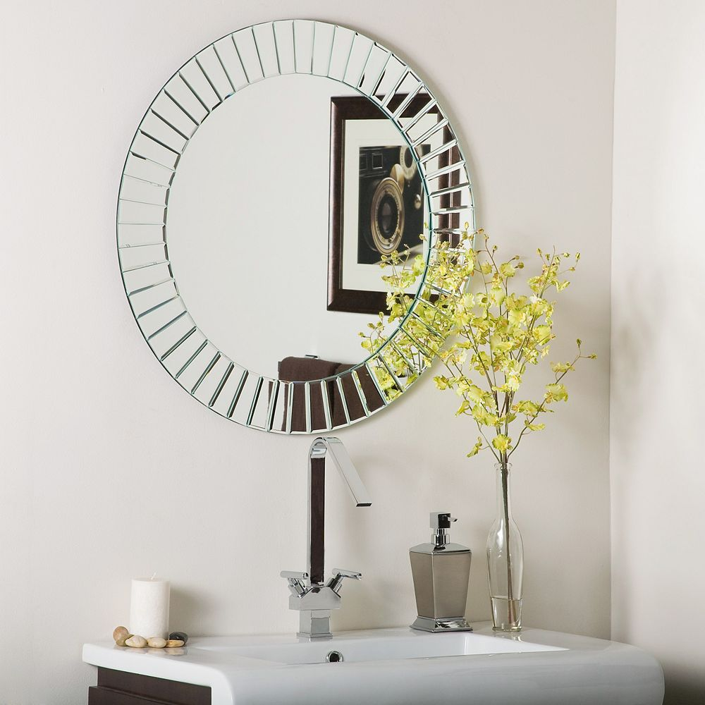 Decor Wonderland 28-inch Round Glow Modern Frameless Bathroom Wall Mirror with beveled Edge