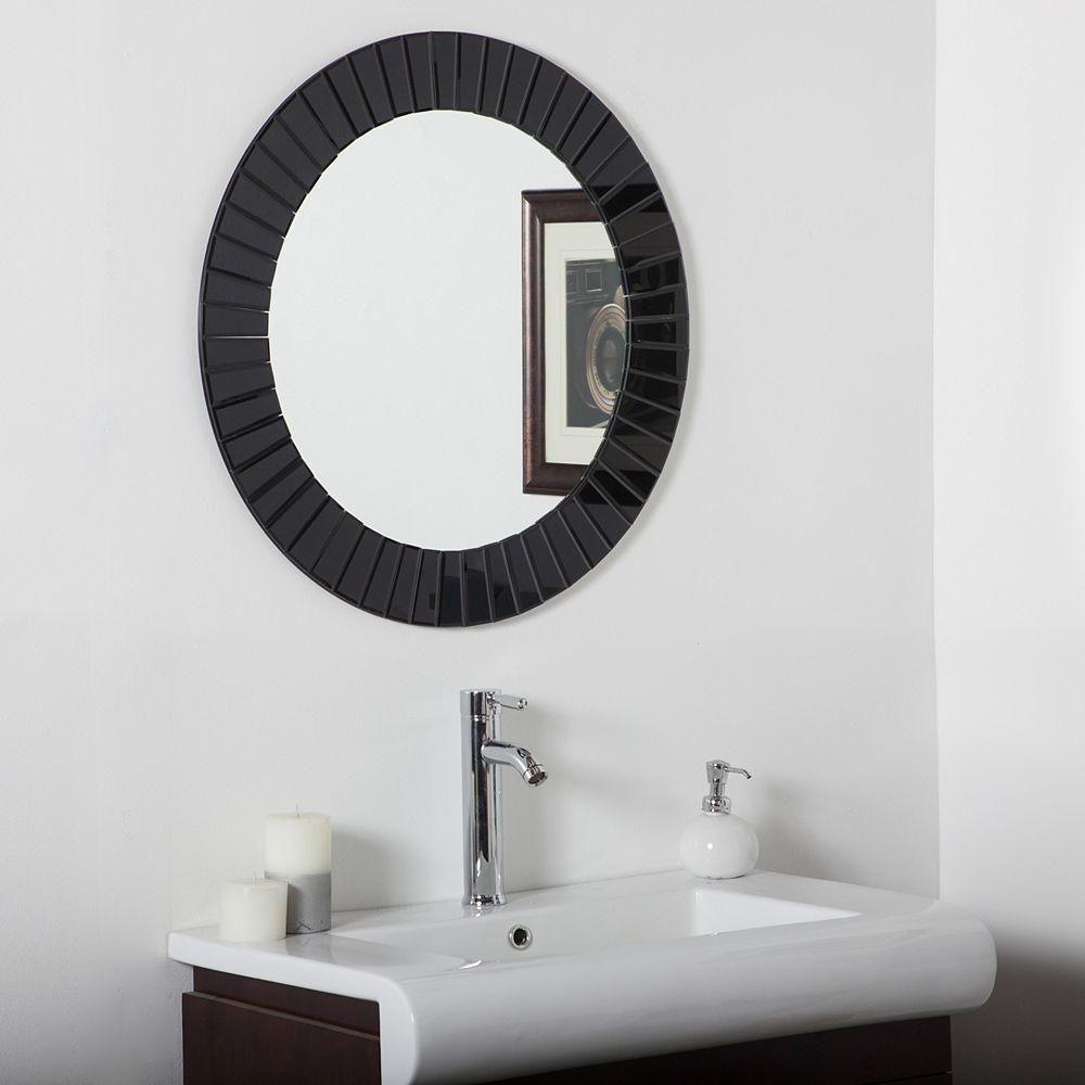 Decor Wonderland 28-inch Round Glow Modern Frameless Bathroom Wall Black Mirror with beveled Edge