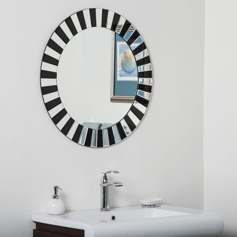 Decor Wonderland 28-inch Round Tiara Modern Bathroom Mirror with beveled Edge