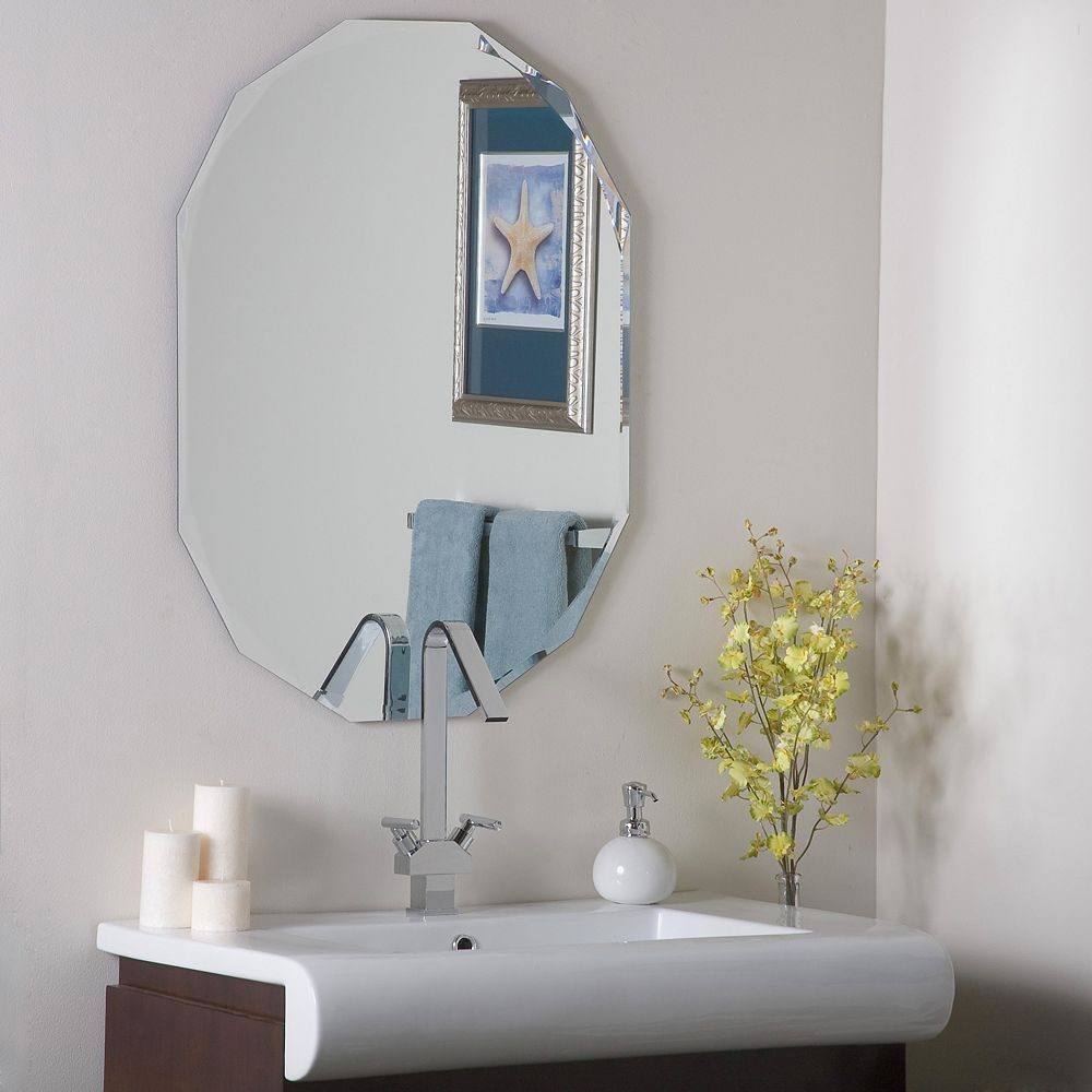 Decor Wonderland 32-inch  x 24-inch Oval Mirror  with beveled Edge and Dual Mounting Brackets