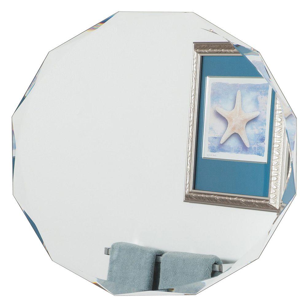 Decor Wonderland 28-inch  Round Frameless Diamond Wall Mirror with beveled Edge