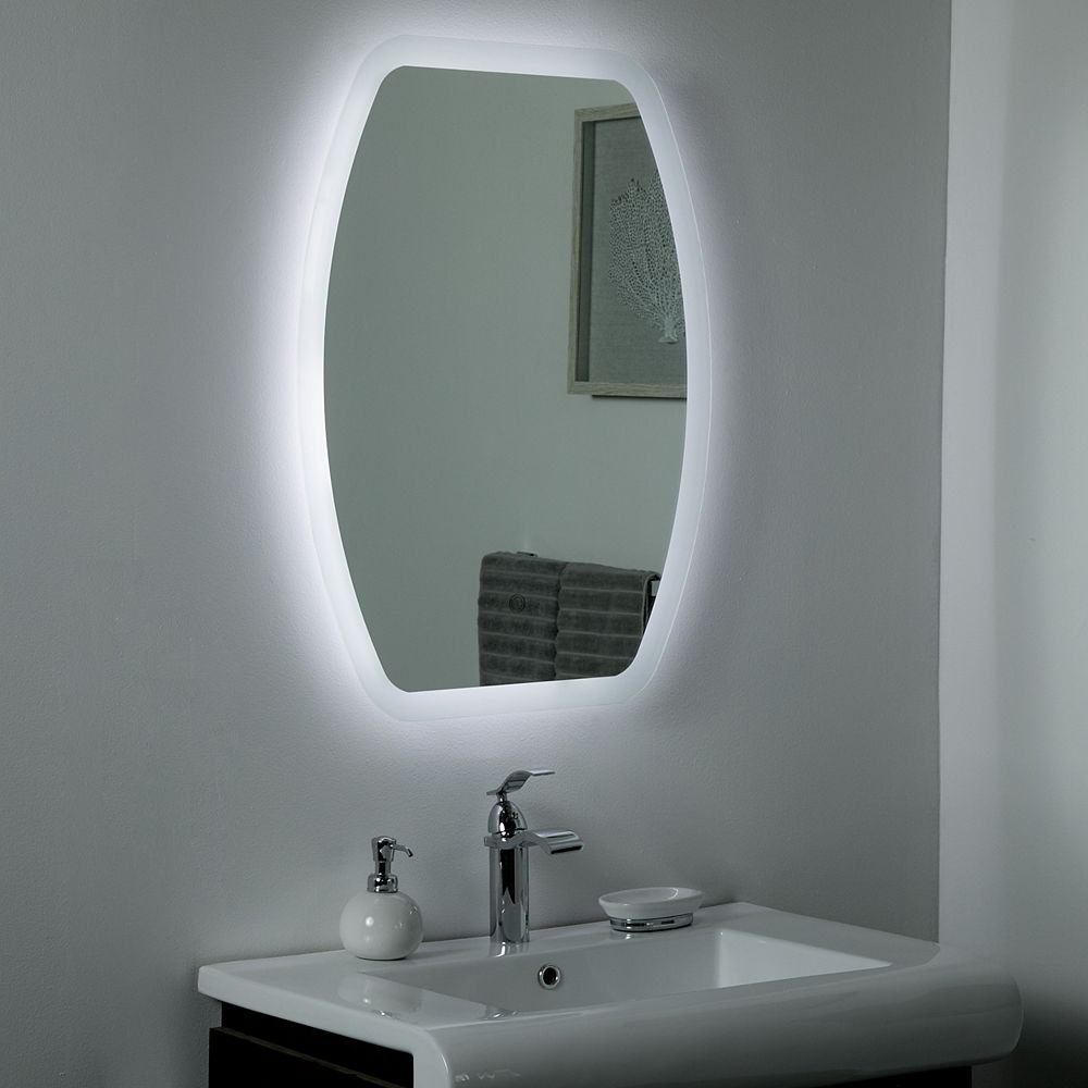 Decor Wonderland 32-inch  x 24-inch Oval Lexy Backlit LED Touch ON/OFF Vanity Mirror with Dual Mounting Brackets