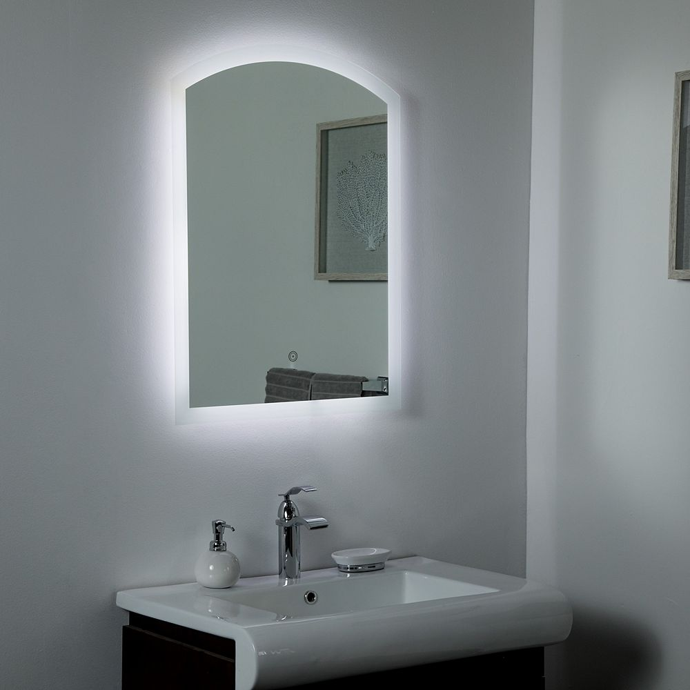 Decor Wonderland 32-inch  x 24-inch Rectangle Luna Frameless Backlit Touch ON/OFF LED Mirror with Bevelled Edge