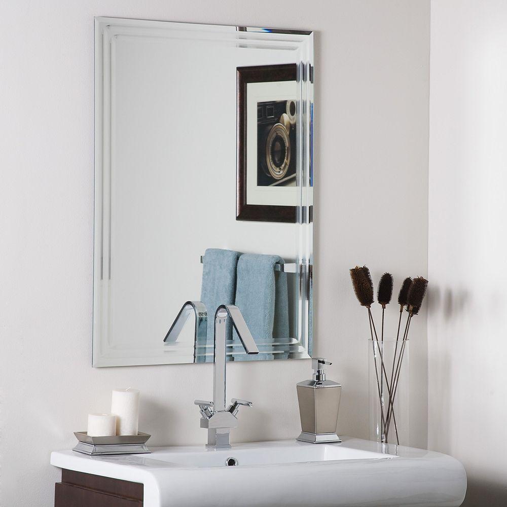 Decor Wonderland 32-inch  x 24-inch Rectangle Trinity Frameless Tri-Bevel Wall Mirror   and Dual Mounting Brackets