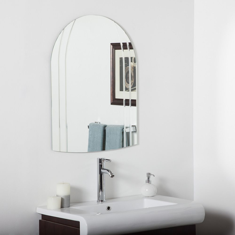 Decor Wonderland 32-inch  x 24-inch Arch Rectangle Serina Modern Bathroom Mirror with V-Groove Edge