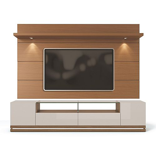 Vanderbilt TV Stand and Cabrini 2.2 Floating Wall TV Panel in Off White and Maple Cream