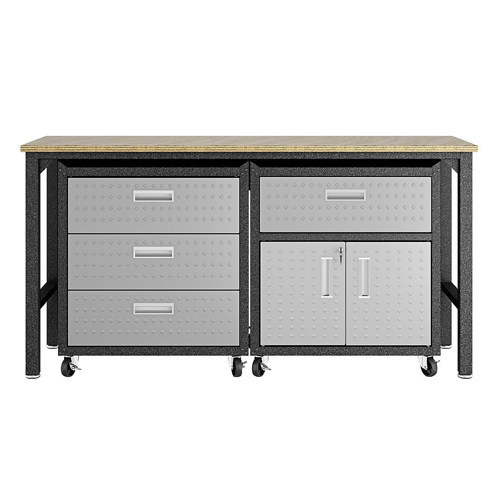 Manhattan Comfort 3-Piece Fortress Mobile Space-Saving Garage Cabinet and Worktable 5.0 in Grey